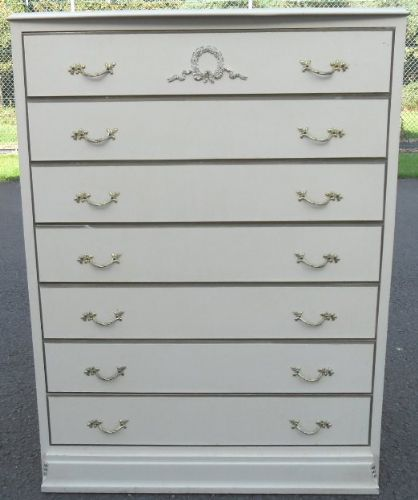 Louis Style Cream Painted Tall Chest of Drawers - SOLD